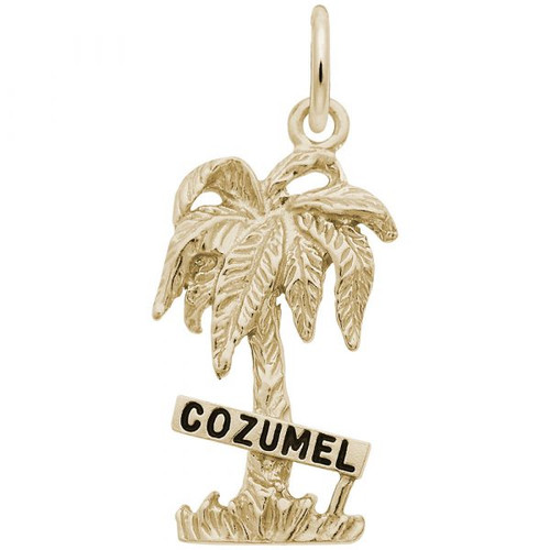 """Cozumel"" Palm Tree Charm - Gold Plate, 10k Gold, 14k Gold"