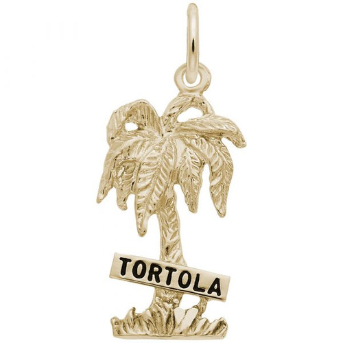 """Tortola"" Palm Tree Charm - Gold Plate, 10k Gold, 14k Gold"