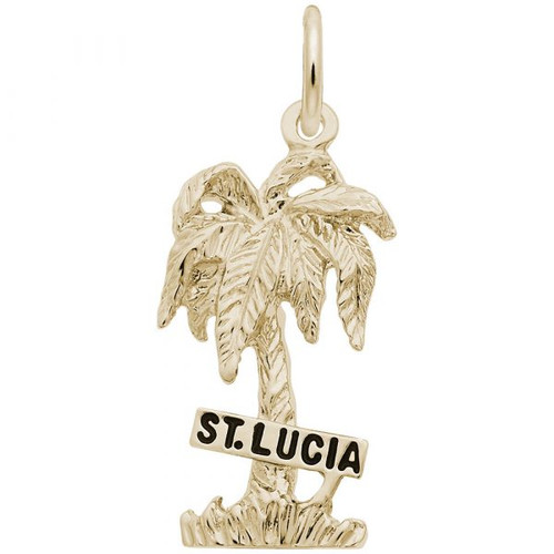 """St. Lucia"" Palm Tree Charm - Gold Plate, 10k Gold, 14k Gold"