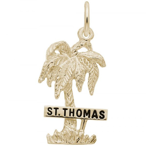 """St. Thomas"" Palm Tree Charm - Gold Plate, 10k Gold, 14k Gold"