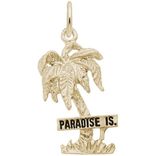 """Paradise Island"" Palm Tree Charm - Gold Plate, 10k Gold, 14k Gold"