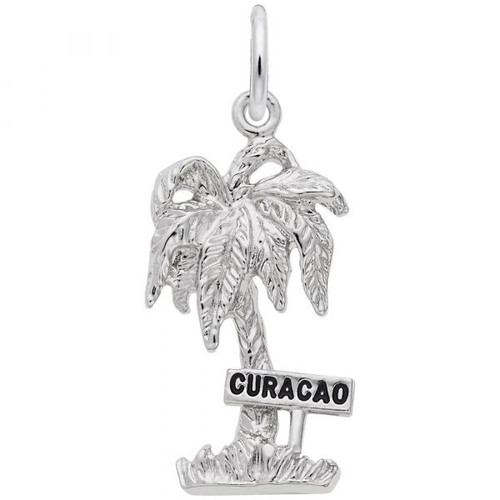 """Curacao"" Palm Tree Charm - Sterling Silver and 14k White Gold"