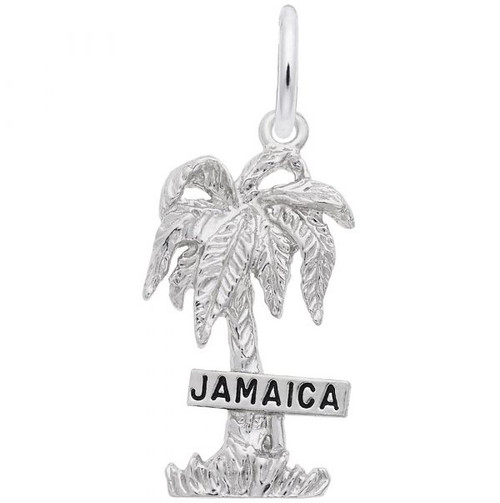 """""""Jamaica"""" Palm Tree Charm - Sterling Silver and 14k White Gold"""