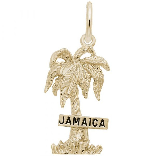 """""""Jamaica"""" Palm Tree Charm - Gold Plate, 10k Gold, 14k Gold"""