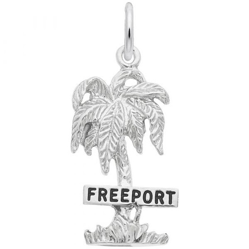 """Freeport"" Palm Tree Charm - Sterling Silver and 14k White Gold"