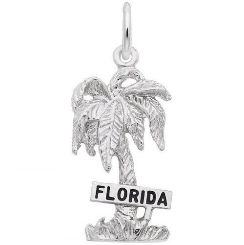 """Florida"" Palm Tree Charm - Sterling Silver and 14k White Gold"