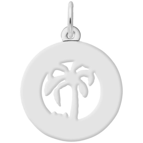 """Hawaii"" Palm Tree Ring Charm with Pearl Accent - Engraveable Backside - Sterling Silver and 14k White Gold"