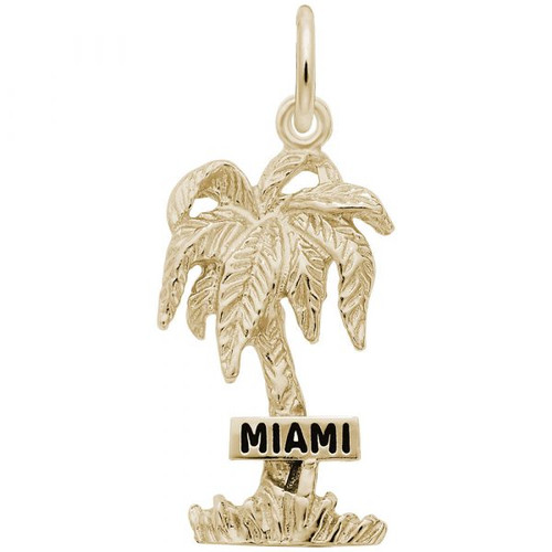 """Miami"" Palm Tree Charm - Gold Plate, 10k Gold, 14k Gold"