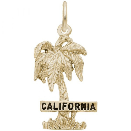 """California"" Palm Tree Charm - Gold Plate, 10k Gold, 14k Gold"
