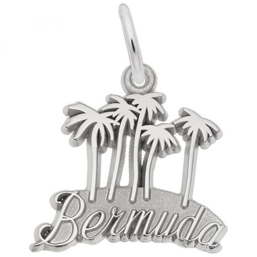 """Bermuda"" Palms Charm -Sterling Silver and 14k White Gold"