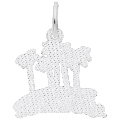 """Bermuda"" Palms Charm - Engraveable Backside - Sterling Silver and 14k White Gold"