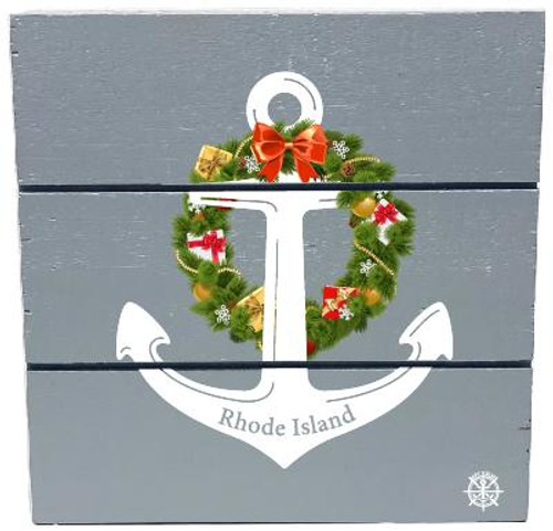 """Rhode Island"" Anchor Wreath Wooden Hanging Plank - Gray- Front"