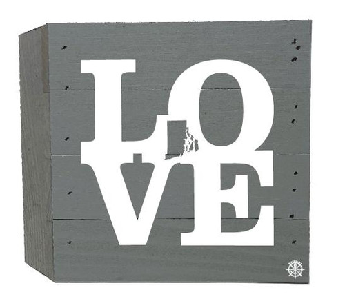 """Love"" Rhode Island Wood Box - 6"" x 6"" - Gray"