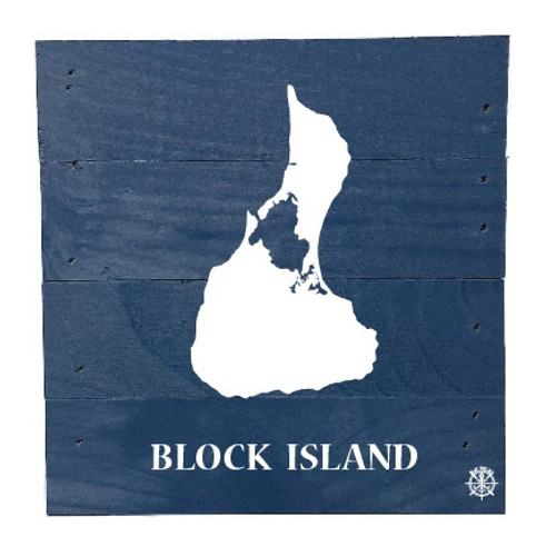 "Block Island, R.I. Wood Box - 6"" x 6"" - Blue"