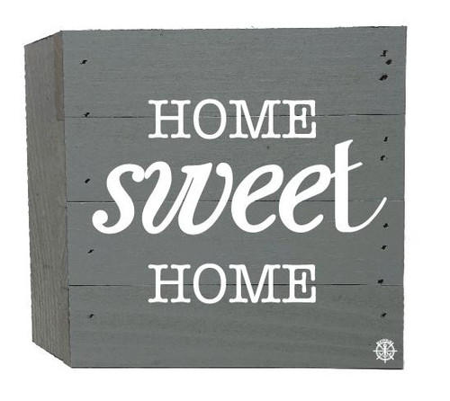 """Home Sweet Home"" Wood Box - 6"" x 6"" - Gray"