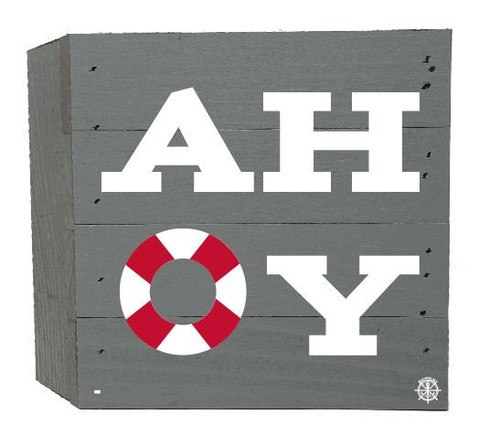 """Ahoy"" Wood Box - 6"" x 6"" - Gray"