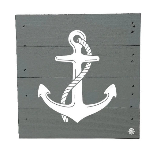 "Anchor Wood Box - 6"" x 6"" - Gray"