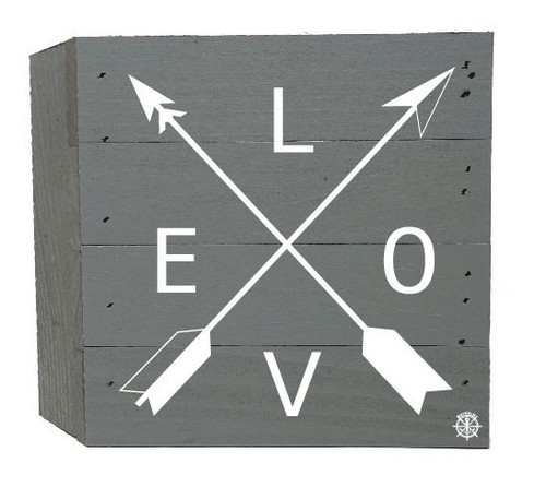 """Love"" Arrows Wood Box - 6"" x 6"" - Gray"