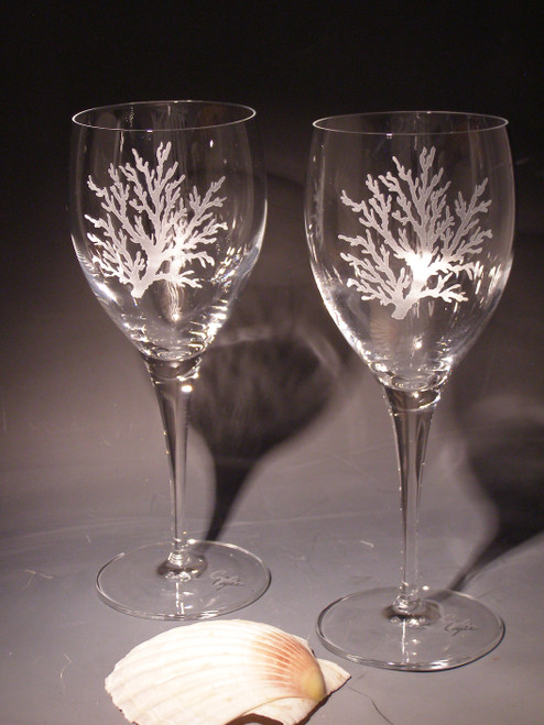 Hand Carved Crystal Wine Glasses - 13 oz - Set of 2 - Personalized