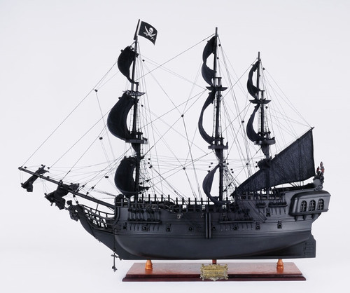 "Black Pearl Pirate Model Ship - 24"" w/ Table Top Display Case - Optional Personalized Plaque"