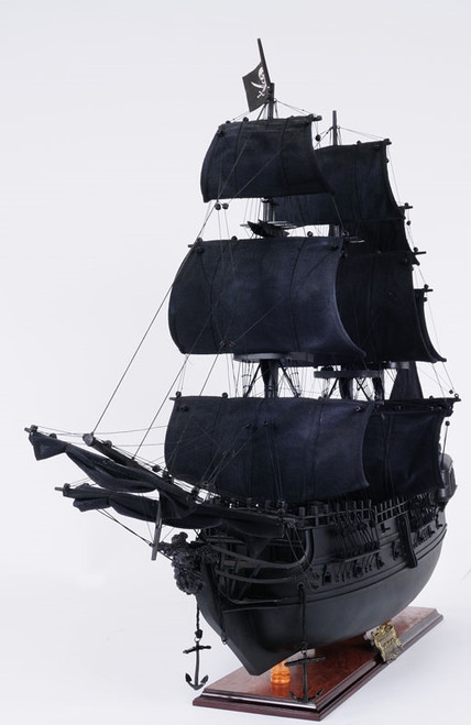 "Black Pearl Pirate Model Ship - 24"" w/ Front Open Display Case - Optional Personalized Plaque"