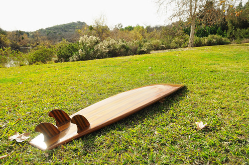 "Long Wooden Surf Board - 109"" (K015)"