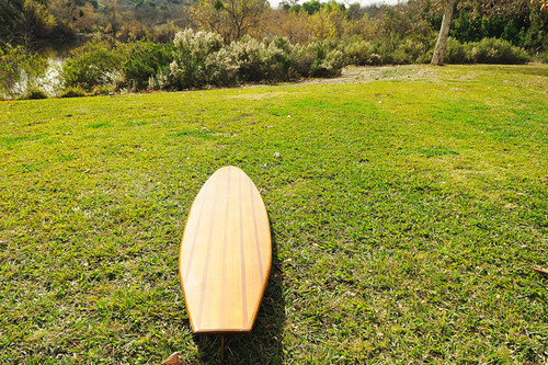 "Short Wooden Surf Board - 75"" (K016)"