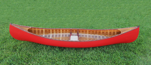Red Wooden Canoe w/ Ribs and Curved Bow - 9.75'