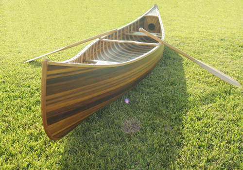 Wooden Canoe w/ Ribs and Curved Bow - Matte Finish - 12'