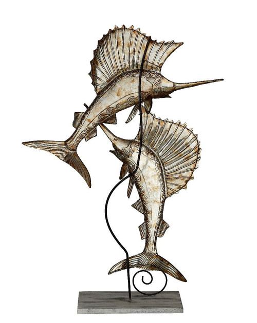 Sailfish Pair on Stand - Beige Splendor - Metal & Capiz