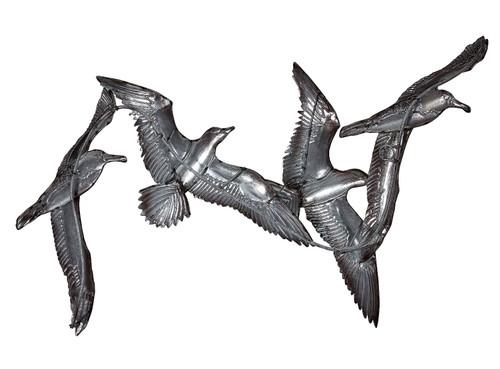 White Elegance Seagull Flock Wall Art - Metal & Capiz