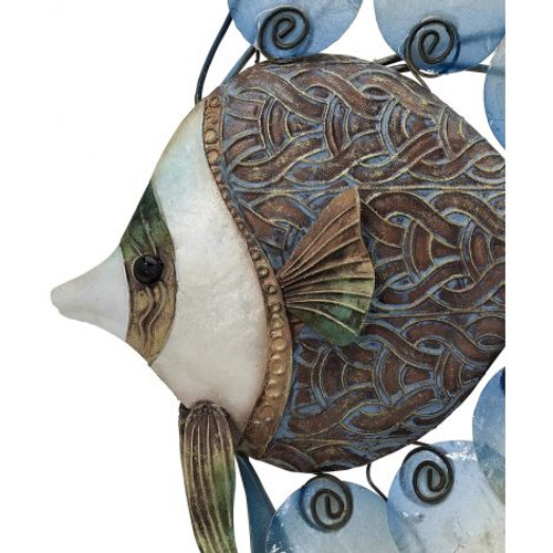 """Nouveau Bannerfish Duo Wall Art - 32"""" x 21"""" - Metal & Capiz Art - Closeup"""
