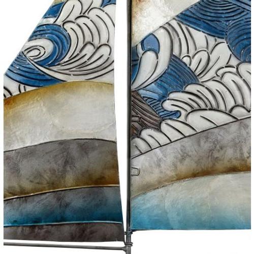 """Sailboat with Waves Sail Wall Art - 22"""" x 22"""" - Metal & Capiz Art - Closeup"""