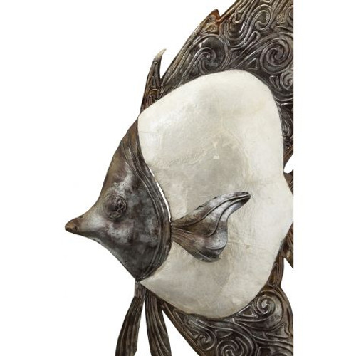 "White Elegance Angelfish on Stand - 9"" x 20"" - Metal & Capiz Art - Closeup"