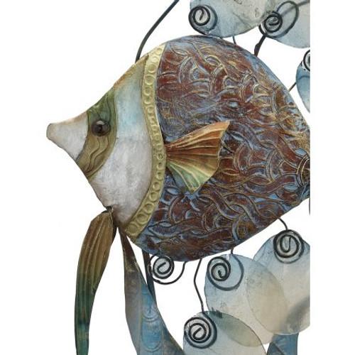 "Nouveau Banner Fish on Stand - 12"" x 28"" - Metal & Capiz Art - Closeup"