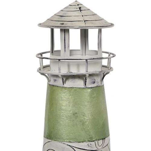 "Seaside Striped Lighthouse - Green - 15"" - Metal & Capiz Art"