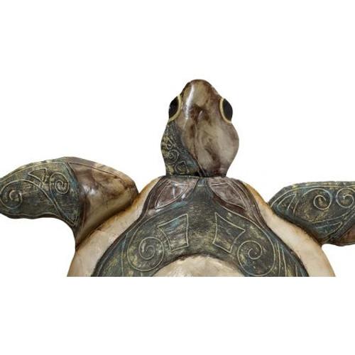 "Large Turtle Wall Art - Bronze - 20"" x 22"" - Metal & Capiz Art - Closeup"