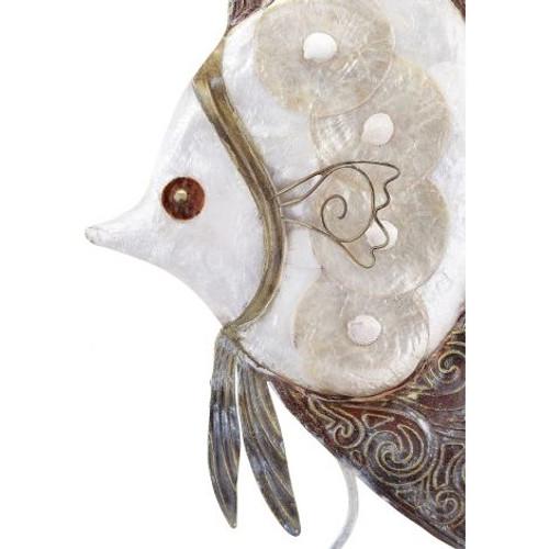 "Angelfish on Stand - Rustic - 9"" x 16"" - Metal & Capiz Art - Closeup"