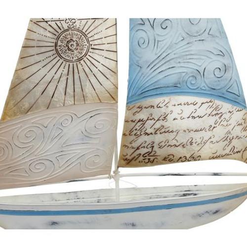 "Seaside Sailboat w/ Compass Sail on Stand - 15"" x 20"" - Metal & Capiz Art - Closeup"