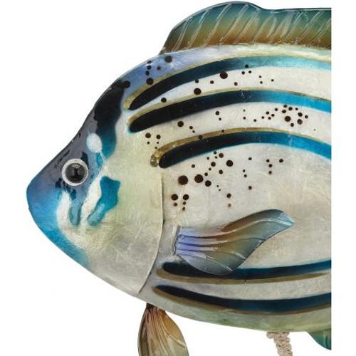 "Large Tropical Fish on Stand - Blue Green - 17"" x 14"" - Metal & Capiz Art - Closeup"