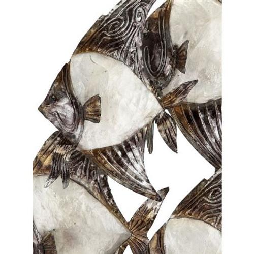 "White Elegance School of Angelfish Wall Art - 15"" x 24"" - Metal & Capiz Art - Closeup"