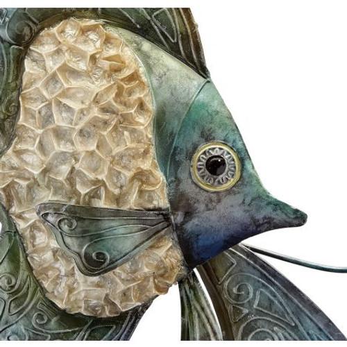 "Ruffled Angelfish Duo Wall Art - Seafoam - 15""  x  24"" - Metal & Capiz Art - Closeup"