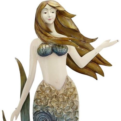 """Ruffled Mermaid Wall Art - Rustic - 16"""" x 22"""" - Metal & Capiz Art - Closeup"""