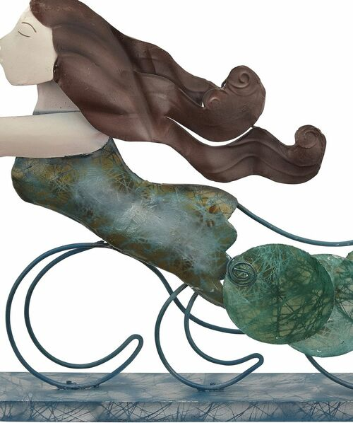 "Mermaid on Stand - Seafoam - 18"" x 12"" - Metal & Capiz Art - Closeup"