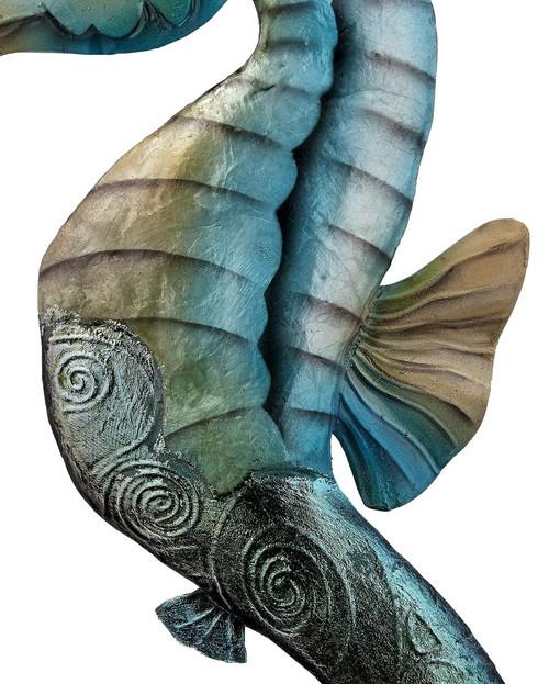 """Flat Seahorse Wall Art - Rustic - 15"""" - Metal & Capiz Art - Closeup"""