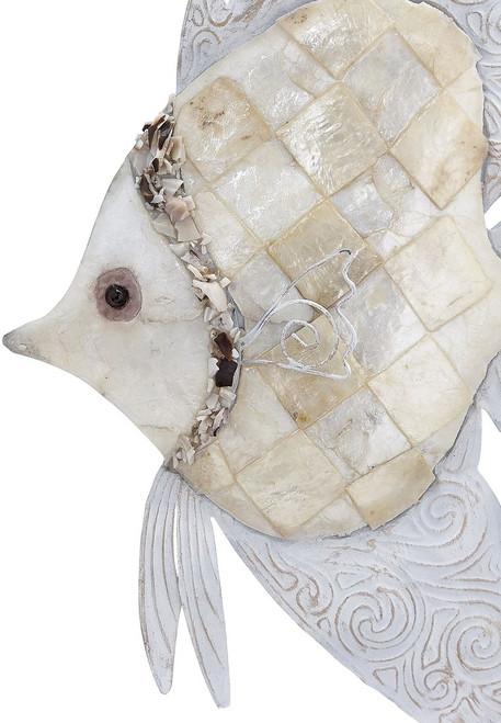 "Angelfish Wall Art - Ivory - 8"" x 12"" - Metal & Capiz Art  - Closeup"