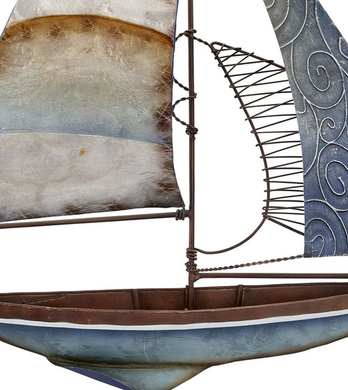 "Sailboat Wall Art - Seafoam - 22"" - Metal & Capiz Art - Closeup"