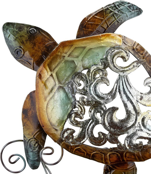 "Turtle on Stand - Rustic - 9.25"" - Metal & Capiz Art - Closeup"
