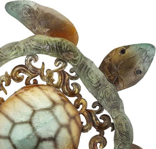"Turtle on Stand - Rustic - 15.5"" - Metal & Capiz Art - Closeup"