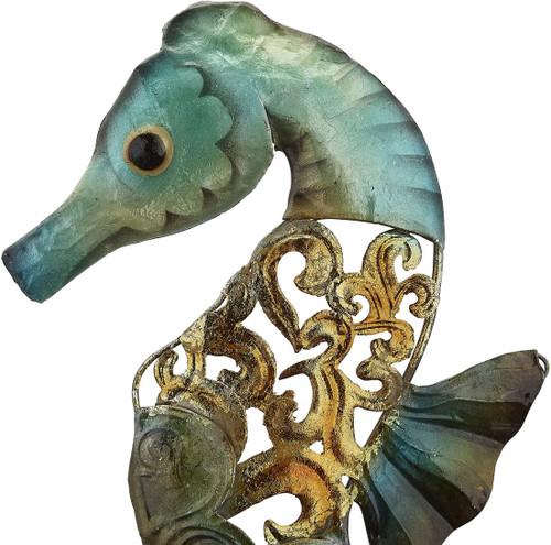 "Seahorse on Stand - Rustic - 20"" - Metal & Capiz Art - Closeup"